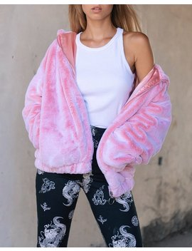 Emerson Jacket In Faux Fur Pink By Motel by Motel