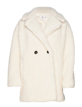 Double Breasted Faux Shearling Lined Coat by Mango