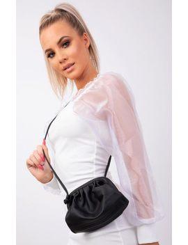 Black Matte Pu Ruched Puff Side Mini Bag   Darla by Femme Luxe