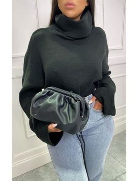 Black Matte Pu Ruched Puff Side Bag   Prala by Femme Luxe