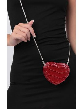 Red Croc Heart Cross Body Bag   Yolanda by Femme Luxe
