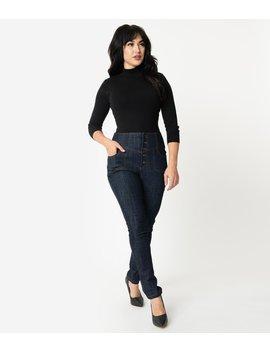 Unique Vintage 1950s Denim Blue High Waisted Monty Skinny Jeans by Unique Vintage