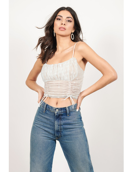Shameless White Ruched Lace Crop Top by Tobi