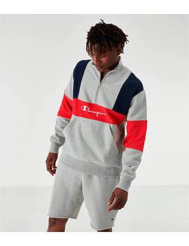 Men's Champion Reverse Weave Colorblock Half Zip Fleece Sweatshirt by Champion