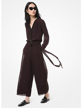 Dot Georgette Wide Leg Jumpsuit by Michael Michael Kors