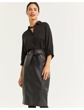 Faux Leather Paperbag Waist Skirt by Reitmans