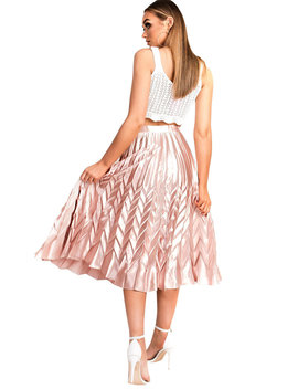 Gabbana Metallic Pleated Midi Skirt In Rose by Ikrush