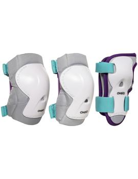 Oxelo Kids' Inline Skate Protectors Play   White/Turquoise by Oxelo