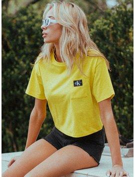Womens Ck Logo Short Sleeve Pckt Tee   Yellow by Calvin Kleincalvin Klein