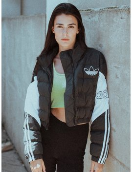 Womens Cropped Puffer Jacket   Blk/Wht by Adidasadidas