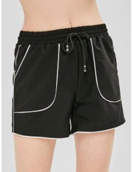 Sale Drawstring Contrast Piping Pocket Shorts   Black L by Zaful