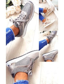 Maya Mesh Two Toned Panel Trainers In Grey by Ikrush