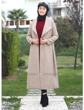 Camel   Unlined   V Neck Collar   Acrylic      Coat by Modanisa