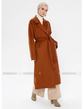 Tan   Point Collar   Viscose   Coat by Modanisa
