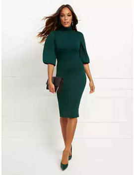 Petite Green Twofer Sweater Sheath Dress by New York & Company