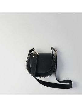 Laceup Leather And Suede Gyps Pm Handbag by Maje
