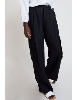No.6 Edmund Cargo Pant In Black Linen by No.6 Clothing
