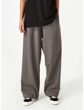 Wide Leg Pull On Trouser   Oatmeal Stripe by 6397