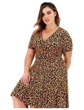 Animal Print Jersey Wrap Skater Dress by Simply Be