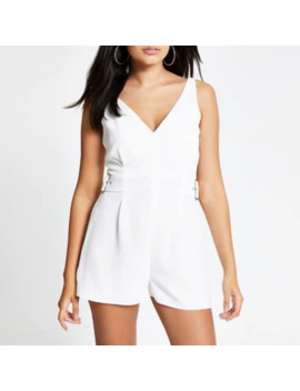 White V Neck Playsuit by River Island