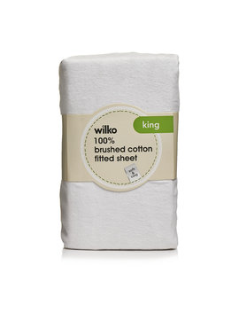 Wilko 100% Brushed Cotton White King Size Fitted Sheet Wilko 100% Brushed Cotton White King Size Fitted Sheet by Wilko