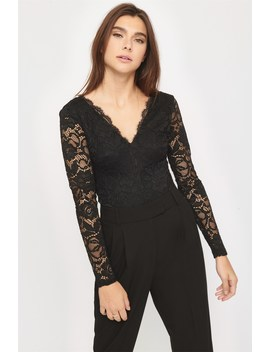 Long Sleeve Lace Bodysuit by Dynamite