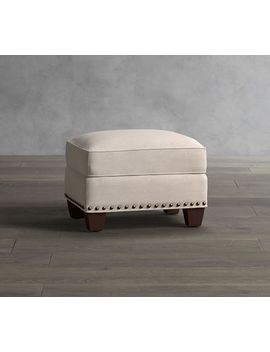 Irving Upholstered Storage Ottoman With Nailheads by Pottery Barn