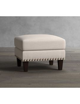 Harlow Upholstered Ottoman With Nailheads by Pottery Barn