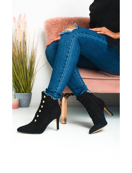 Ella Corset Lace Up Heeled Boots In Black by Ikrush