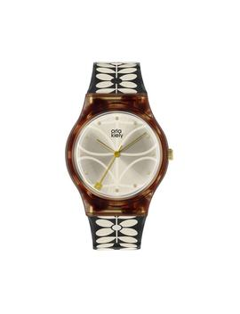 Ladies Black 60's Stem Print Strap Watch by Orla Kiely