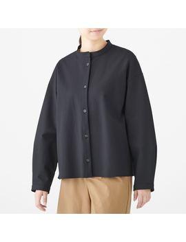 Xinjiang Cotton Double Woven Stand Collar Shirt by Muji