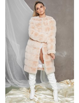Executive Longline Panel Faux Fur Coat In Cream by Oh Polly