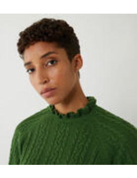 Bobble Cable Frill Neck Jumper by Warehouse