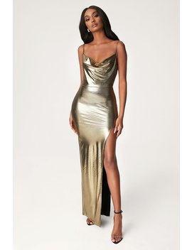 Kaila Cowl Neck Maxi Dress   Gold by Meshki