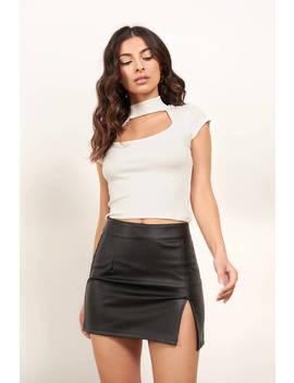 On A Mission Black Leather Slit Mini Skirt by Tobi