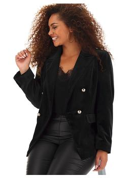 Black Velour Trophy Blazer by Simply Be