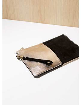 Mia Gold Leather Clutch Bag by Mint Velvet