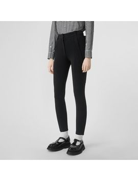 Strap Detail Stretch Crepe Jersey Trousers by Burberry