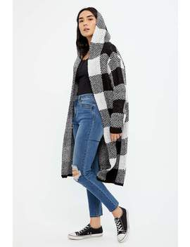 Womens Plaid Hooded Duster Cardigan by Bluenotes