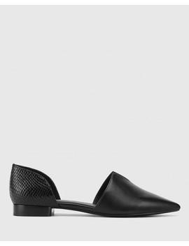 Midori Black Leather & Mini Snake Print Pointed Toe Flat by Wittner