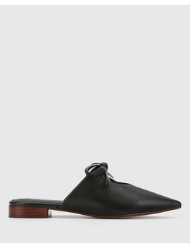Magdalena Black Leather Pointed Toe Slip On Flat by Wittner