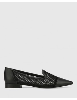 Melodie Black Leather & Mesh Pointed Toe Flat by Wittner