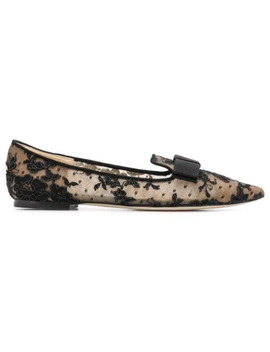 Gala Black Floral Lace Pointy Toe Flats by Jimmy Choo