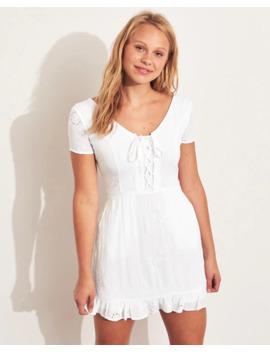 Lace Up Ruffle Hem Dress by Hollister