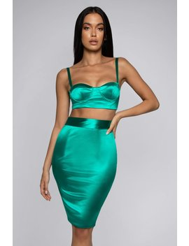Naomi Satin Midi Skirt   Emerald by Meshki