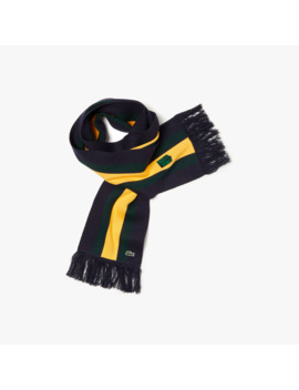 Unisex Lacoste Live Striped Cashmere And Cotton Scarf by Lacoste