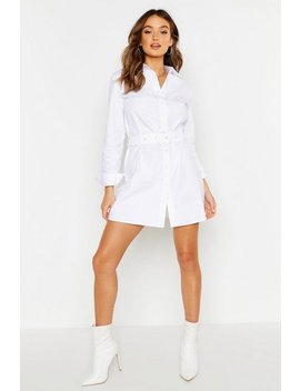Woven Belted Shirt Dress by Boohoo
