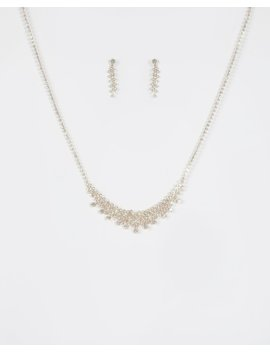 Gold Diamante Chain Necklace And Earring Set by Colette Hayman