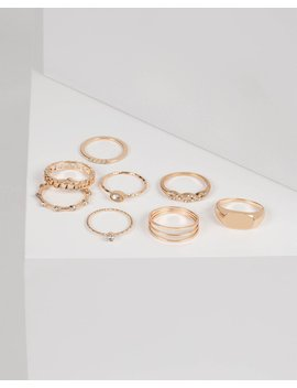 Gold Diamante Multi Ring Pack   Small/Medium by Colette Hayman