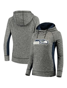 Women's Seattle Seahawks Nfl Pro Line By Fanatics Branded Heathered Black/College Navy Static Pullover Hoodie by Nfl